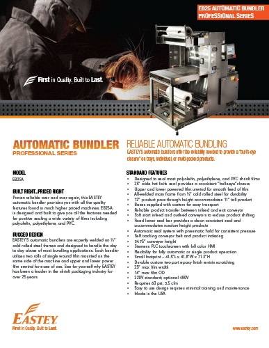 Eastey Professional Series Automatic Bundler EB25A Brochure