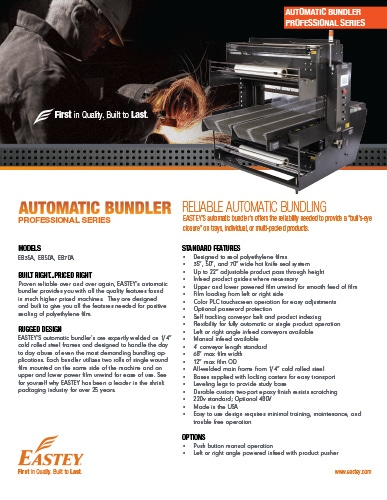 Eastey Professional Series Automatic Bundlers EB35A EB50A EB70A Brochure