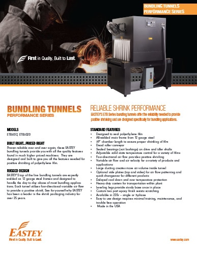 Eastey Performance Series Bundling Tunnels Brochure