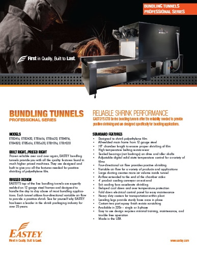 Eastey Professional Series Bundling Tunnels Brochure