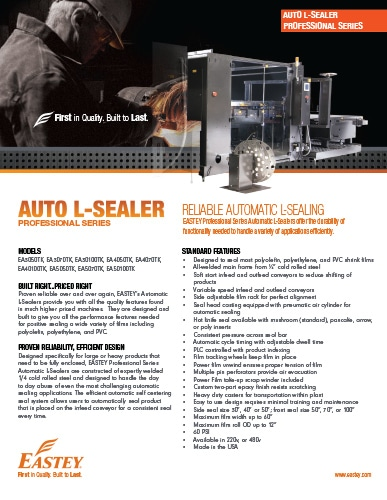 Professional Series Automatic L-Sealers Brochure