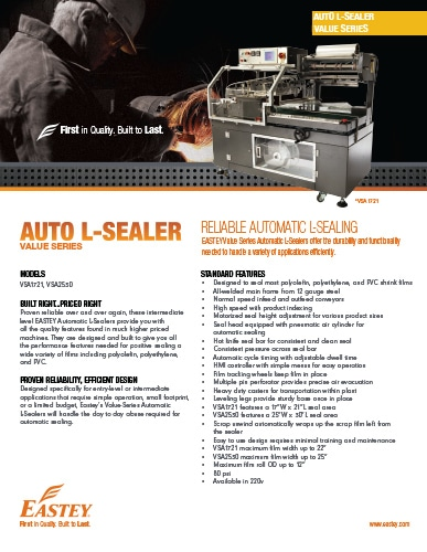 Eastey Value Series Automatic L-Sealers Brochure