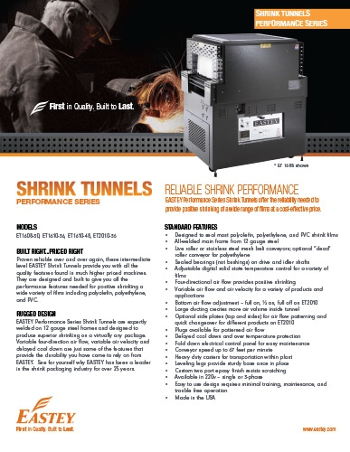 Eastey Performance Series Shrink Tunnels Brochure