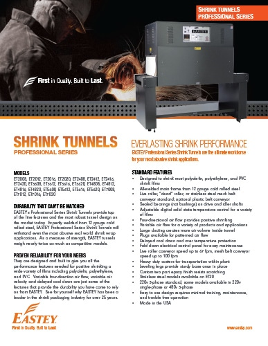 Eastey Professional Series Shrink Tunnels Brochure