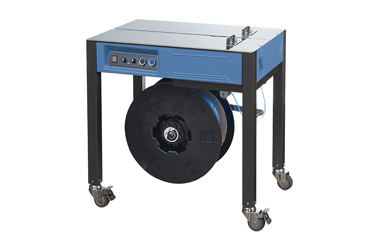 The semi-automatic EXS-100 strapping machine is designed to apply a plastic strap around your packages, preventing them from opening during handling and transit